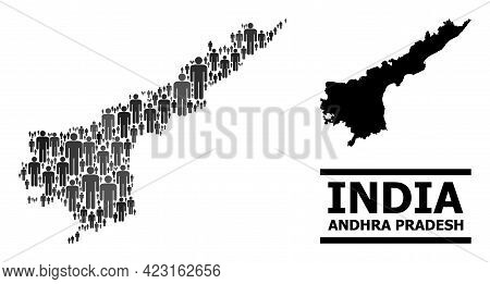 Map Of Andhra Pradesh State For Political Propaganda. Vector Population Abstraction. Pattern Map Of