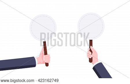 Hand Hold Blank Round Auction Bid Banner Plate Sign Business Concept Flat Style Design Vector Illust