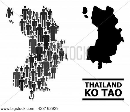 Map Of Ko Tao For Social Agitprop. Vector Demographics Abstraction. Concept Map Of Ko Tao Done Of Pe