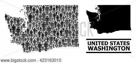 Map Of Washington State For Demographics Proclamations. Vector Population Mosaic. Mosaic Map Of Wash