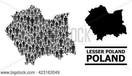 Map Of Lesser Poland Province For Social Applications. Vector Nation Mosaic. Mosaic Map Of Lesser Po