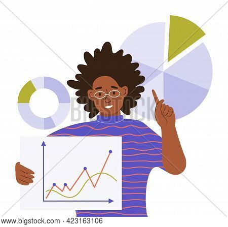 A Young Black Woman Shows Work Schedules And Diagrams. Working With Big Data, Analyzing And Auditing