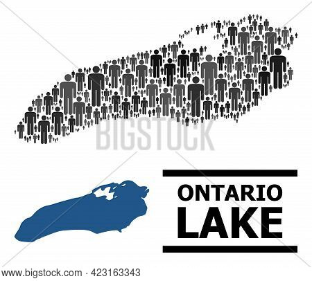 Map Of Ontario Lake For Social Projects. Vector Population Abstraction. Concept Map Of Ontario Lake