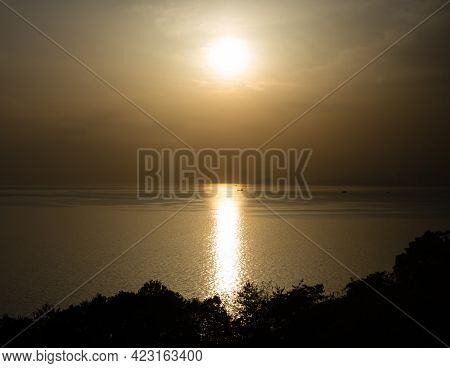 Sun Setting Over The Seto Inland Sea, View From Kyukamura Setouchi Toyo - Ehime Prefecture, Japan
