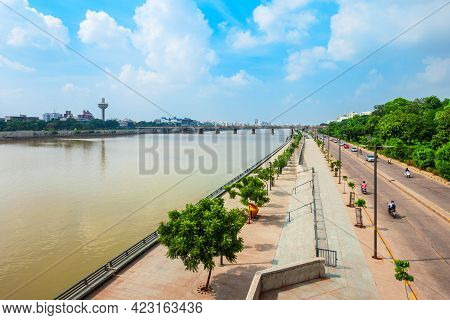 Sabarmati Riverfront Aerial View In The City Of Ahmedabad, Gujarat State Of India