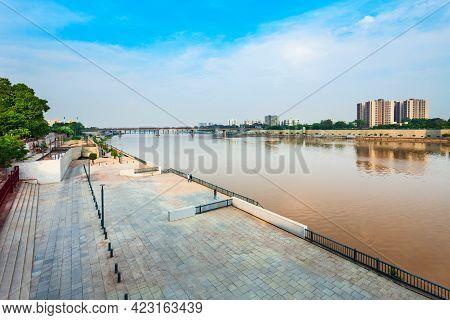 Sabarmati Riverfront Aerial View Near Gandhi Ashram In The City Of Ahmedabad, Gujarat State Of India