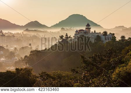 Mount Abu And Aravalli Mountain Range Aerial Panoramic View. Mount Abu Is A Hill Station In Rajastha