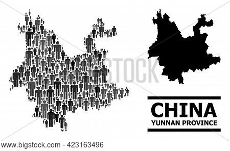 Map Of Yunnan Province For Demographics Purposes. Vector Demographics Collage. Collage Map Of Yunnan