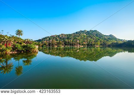 Mount Abu And Nakki Lake Panoramic View. Mount Abu Is A Hill Station In Rajasthan State, India.