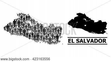 Map Of El Salvador For Social Applications. Vector Nation Abstraction. Abstraction Map Of El Salvado