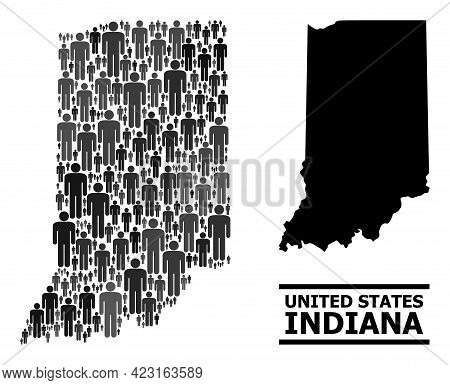 Map Of Indiana State For Demographics Agitation. Vector Demographics Abstraction. Pattern Map Of Ind