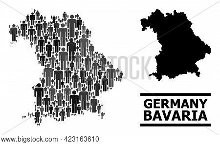 Map Of Bavaria State For National Doctrines. Vector Demographics Abstraction. Mosaic Map Of Bavaria