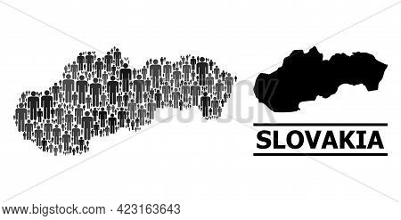 Map Of Slovakia For Political Doctrines. Vector Nation Collage. Concept Map Of Slovakia Composed Of