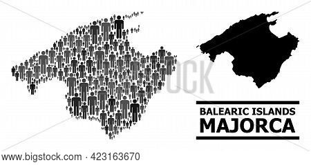 Map Of Majorca For National Purposes. Vector Nation Collage. Collage Map Of Majorca Created Of Popul