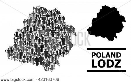 Map Of Lodz Province For Social Doctrines. Vector Nation Abstraction. Abstraction Map Of Lodz Provin