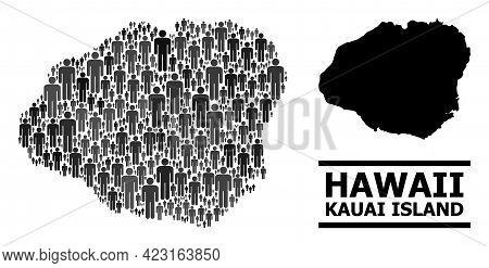 Map Of Kauai Island For Politics Propaganda. Vector Demographics Abstraction. Concept Map Of Kauai I