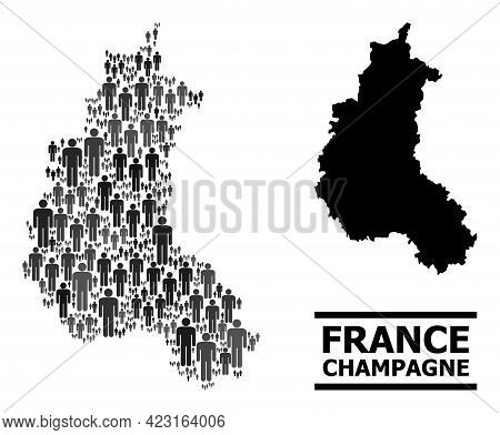 Map Of Champagne Province For Demographics Posters. Vector Demographics Abstraction. Abstraction Map