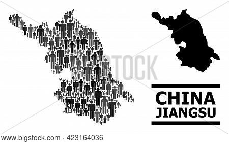 Map Of Jiangsu Province For Demographics Promotion. Vector Demographics Abstraction. Collage Map Of