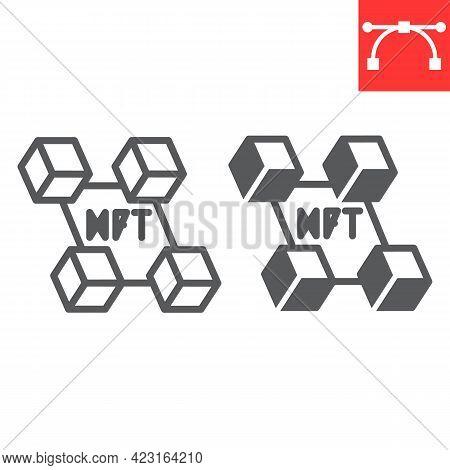 Nft Blockchain Line And Glyph Icon, Unique Token And Blockchain, Non Fungible Token Vector Icon, Vec