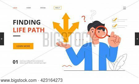 People At Tangled Ways Psychological Concept. Searching And Finding Life Path. Man Looks At His Life