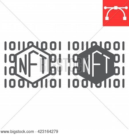 NFT code line and glyph icon, unique token and non fungible token, NFT vector icon, vector graphics, editable stroke outline sign, eps 10.