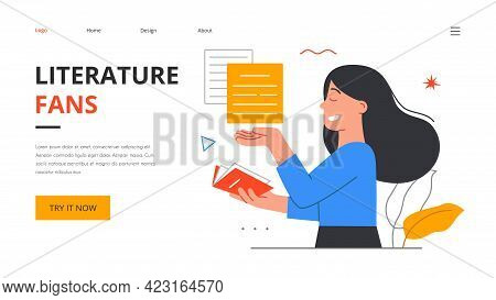 Female Character Literature Fan With Books. Reading Young Smiling Happy Woman, Student Studying Or P