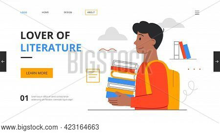 Boy Literature Fan With Books. Reading Man, Student Studying Or Preparing For Exam. Book Lovers And