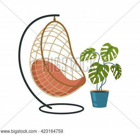 Hanging Chair And Tropical Natural Plant In Pot. Vintage Wicker Hammock With Interior Green Lush Cal