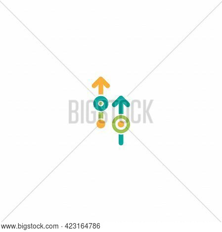 Blue And Green Arrows Up With Dots And Circles. Icon Isolated On White Background. Launch, Upgraid I