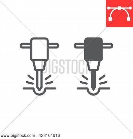 Construction Jackhammer Line And Glyph Icon