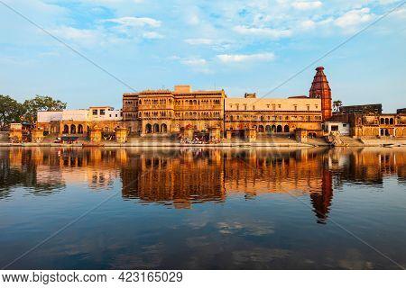Krishna Temple At The Keshi Ghat On Yamuna River In Vrindavan Near Mathura City In Uttar Pradesh Sta