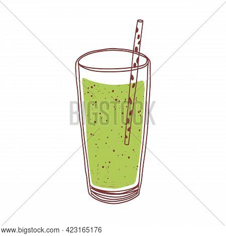 Green Detox Smoothie In Glass With Straw. Summer Refreshing Japanese Matcha Drink. Cold Vitamin Chlo