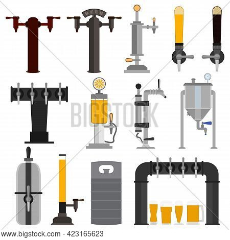 Set Of Beer Equipment For Bar Including Beer Pump, Dispenser With Tap And Handle And With Set Full G