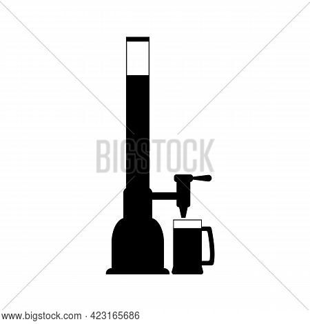 Glass Beer Dispenser, Beer Pump With Beer Glass. Pouring Beer In Glass Mug. Vector Drawing. Illustra