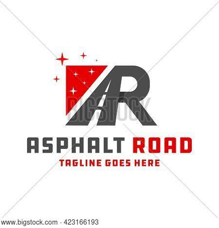Asphalt Road Construction Logo Design With Letters Ar