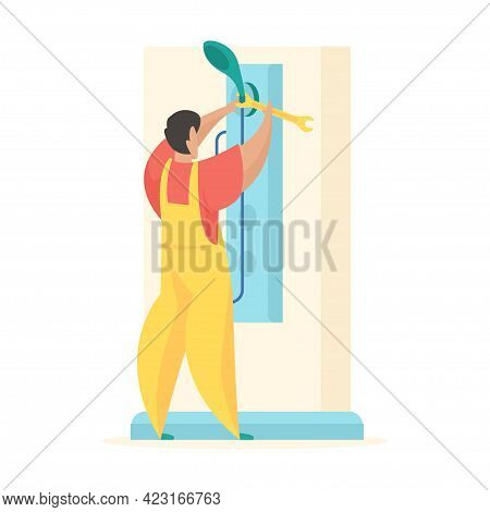 Repair Shower Stall. Man In Uniform Screwing Watering Can Shower With Wrench. By Hand Installation N