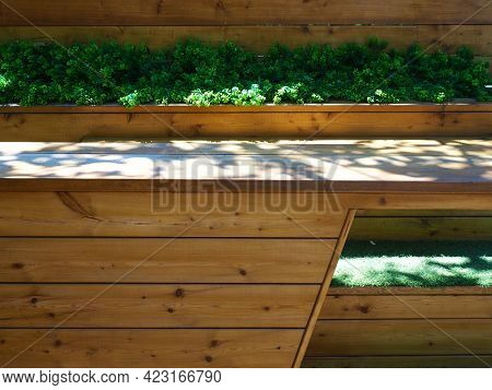 A Seating Area Of Wooden Stepped Seats With Decorative Plants In Between Located In The Shade In The