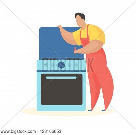 Man Repairs Kitchen Stove. Checking Burners And Electric Oven. Uniformed Technician Is Cleaning Gas