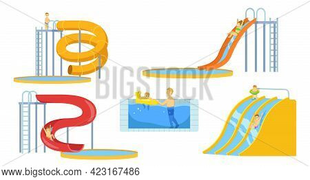 Aqua Park Visitors Relaxing Illustrations In Cartoon Style. Kid, Mother And Father In Waterpark, Sli