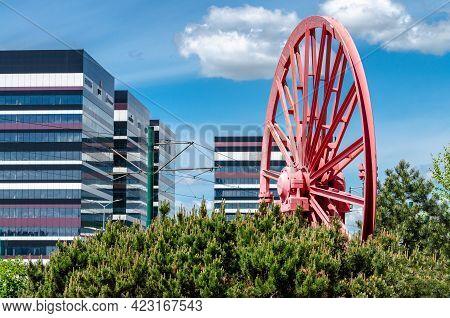 Katowice, Silesia, Poland: 26 May, 2021: Silesia Business Park With Tiramisu Buildings And A Red Dec