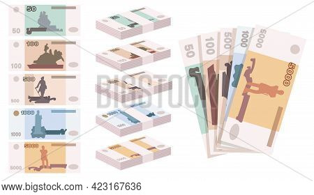 Ruble Banknotes Of Russia Illustrations In Cartoon Style. Stacks Of Russian Currency Banknotes. Set