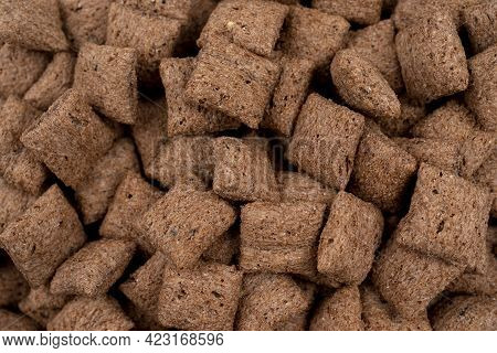 Chocolate Pillows Background Texture, Brown Chocolate Cereal Pads Pattern, Crispy Corn Flakes, Healt