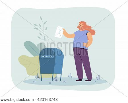 Girl Putting Letter In Mailbox Flat Vector Illustration. Happy Female Character Sending Letter By Ex