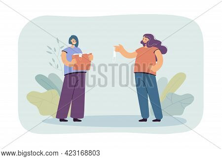 Girl Giving Used Mask To Her Sister Flat Vector Illustration. Cheerful Female Person Holding Bag Wit