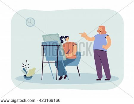 Woman Painting Vector Illustration. Female Character Sitting At Easel With Brush Drawing. Her Friend