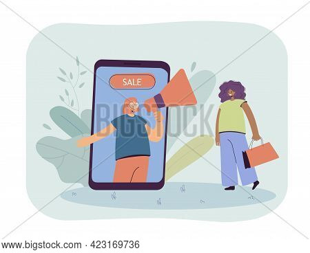 Woman Shopping Online At Discounts Flat Vector Illustration. Saleswoman With Loudspeaker On Phone Sc