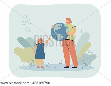 Mother Giving Globe To Daughter. Female Characters Holding Blue Planet Earth, Offering It To Little