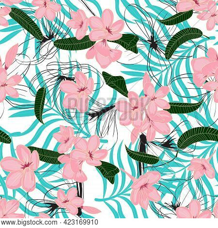 Floral Seamless Pattern With Frangipani Flowers And Palm Leaves. Tropical Multi Layered Pattern With