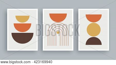 Abstract Wall Art Painting Lines And Circle Background. Minimalist Geometric Elements And Hand Drawn