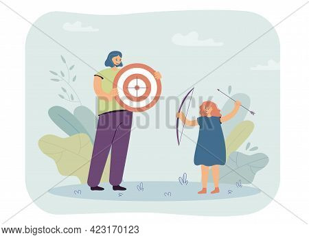Woman And Girl Playing With Bow Vector Illustration. Mother Holding Aim, Daughter With Bow And Arrow